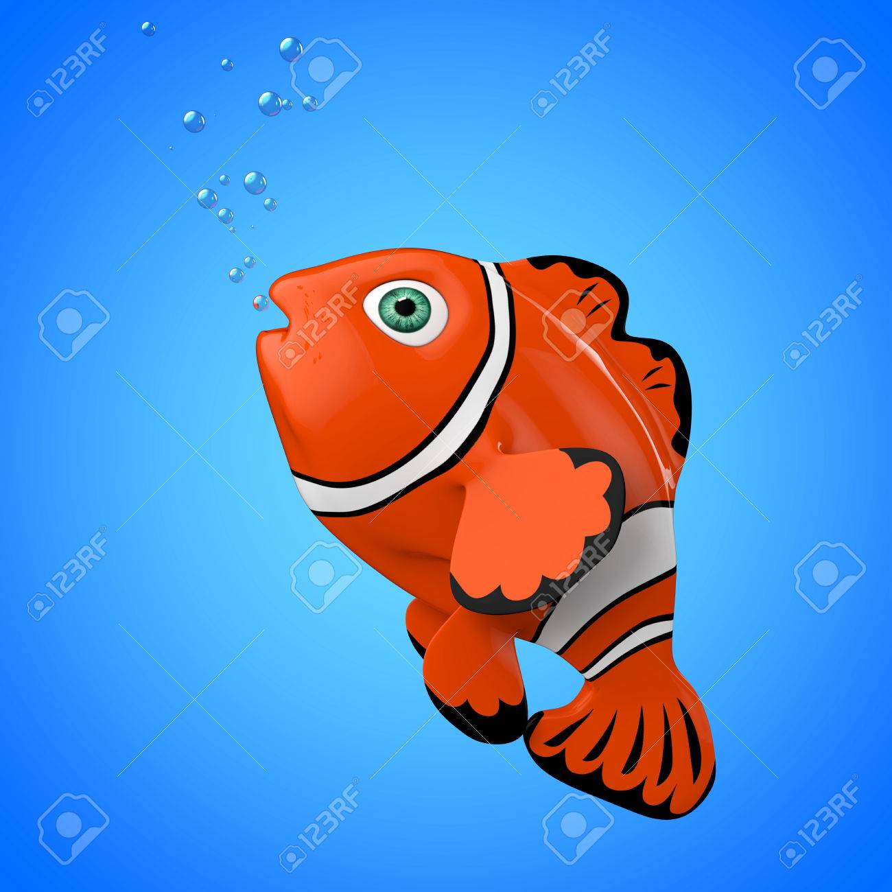 Cartoon Red Sea Clownfish On A Blue Background. 3d Rendering. Stock ...