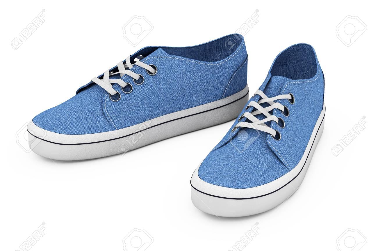 fbfabf9773aa4 Foto de archivo - Nuevas zapatillas de deporte azules sin marca de fábrica  del dril de algodón en un fondo blanco. Representación 3D