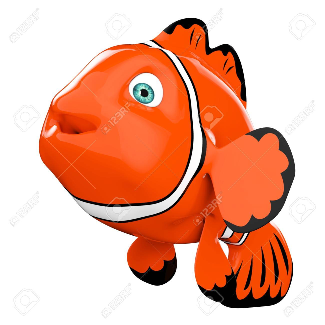 Cartoon Red Sea Clownfish On A White Background. 3d Rendering. Stock ...