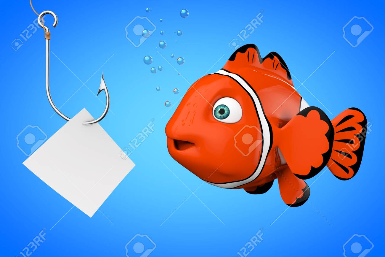 Cartoon Red Sea Clownfish Looking On A Fishhook With Blank Paper ...