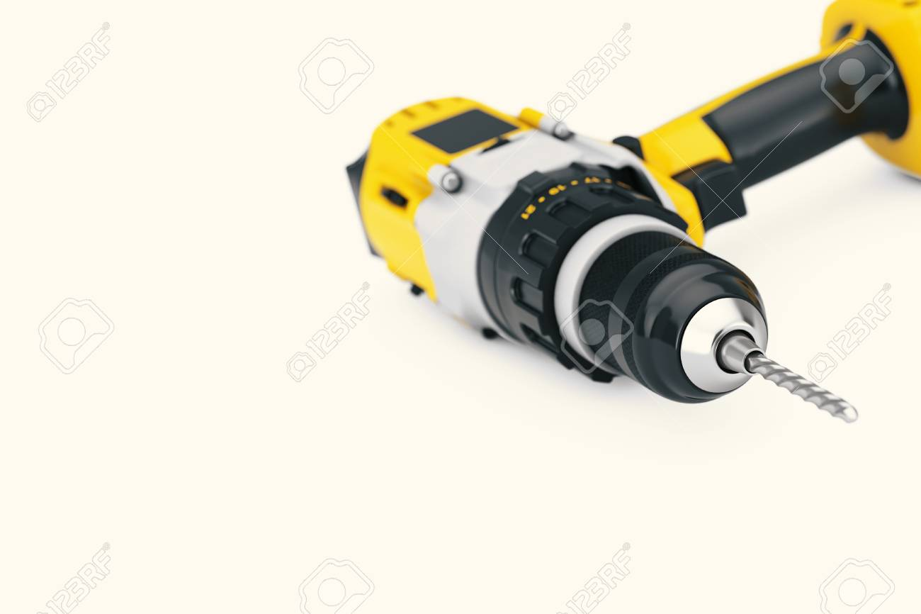 Yellow Rechargeable and Cordless Drill on a white background