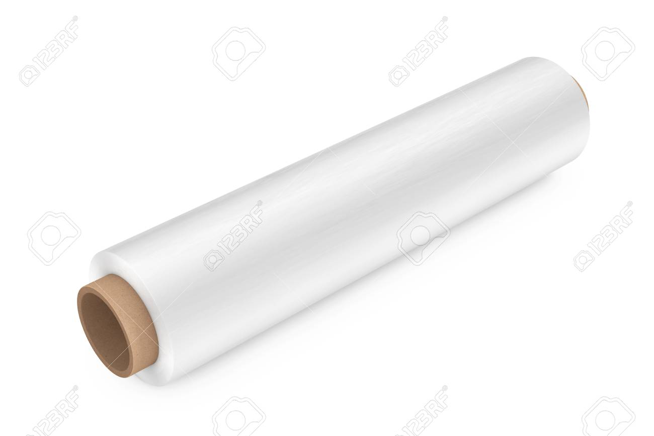 be6b6e1ec66 Roll of White Wrapping Plastic Transparent Packaging Stretch Film on a  white background. 3d Rendering
