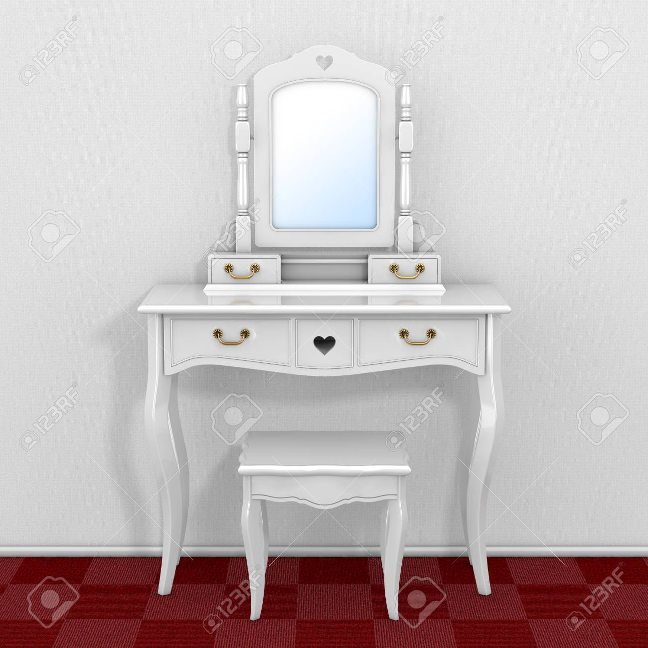 Antique Bedroom Vanity Table With Stool And Mirror In Room With Red Carpet  Floor And White