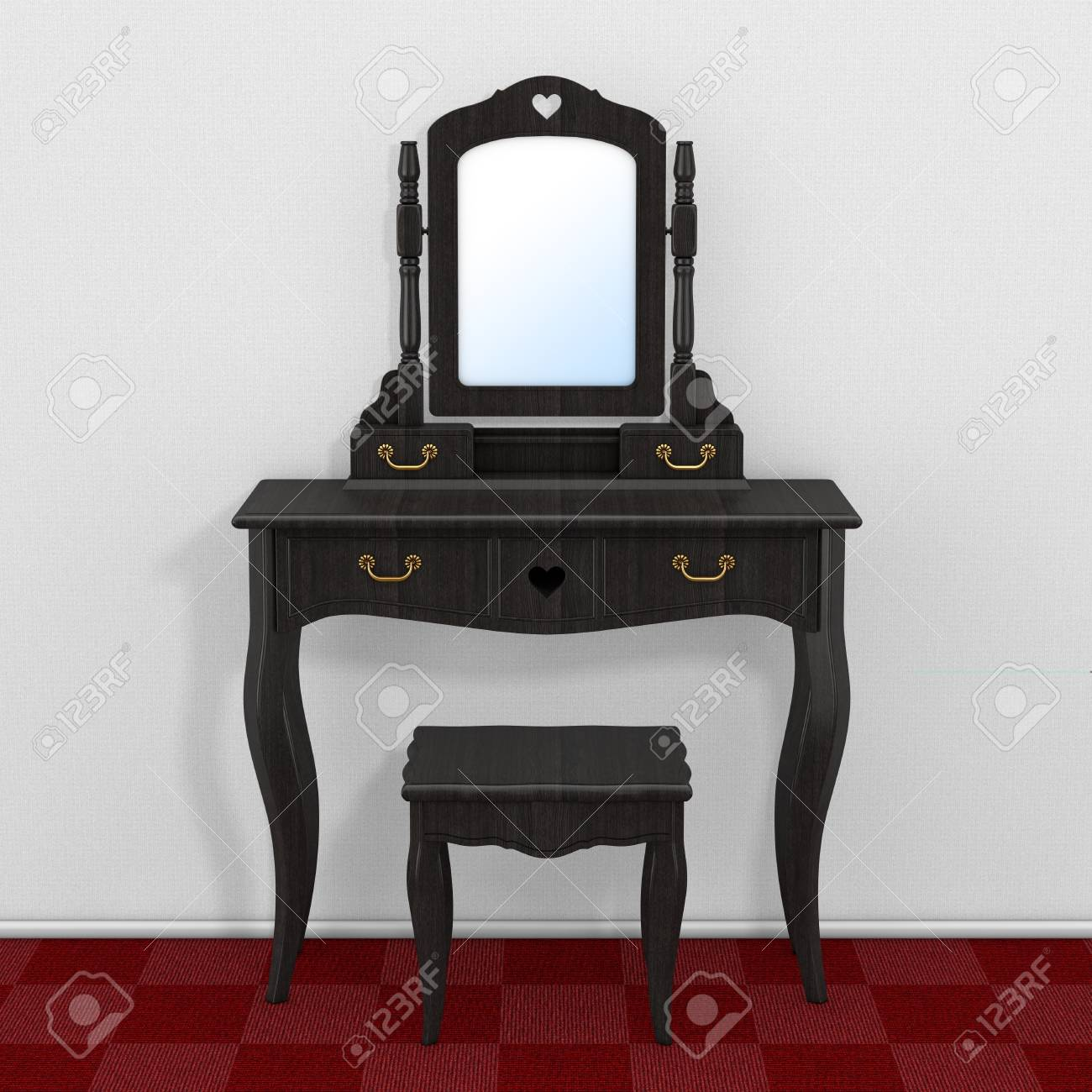 Antique Bedroom Vanity Table with Stool and Mirror in Room with..