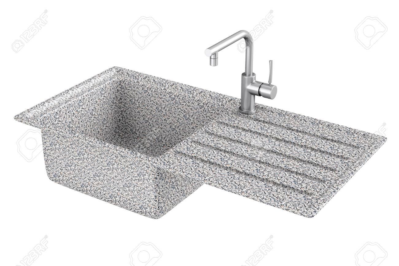 Moderner Granit Spulbecken Mit Edelstahl Wasserhahn Hahn Auf Einem
