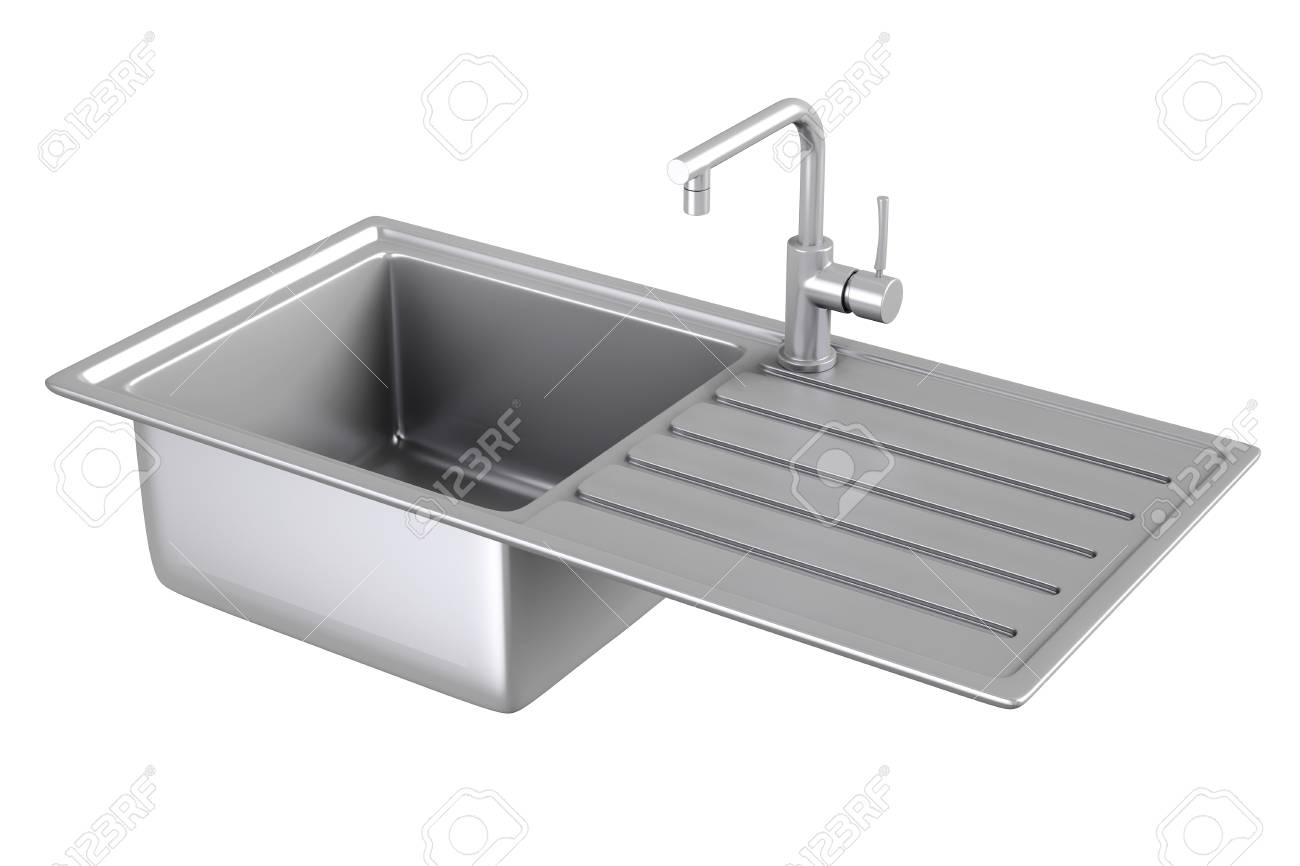 modern metalic kitchen sink with stainless steel water tap stock rh 123rf com