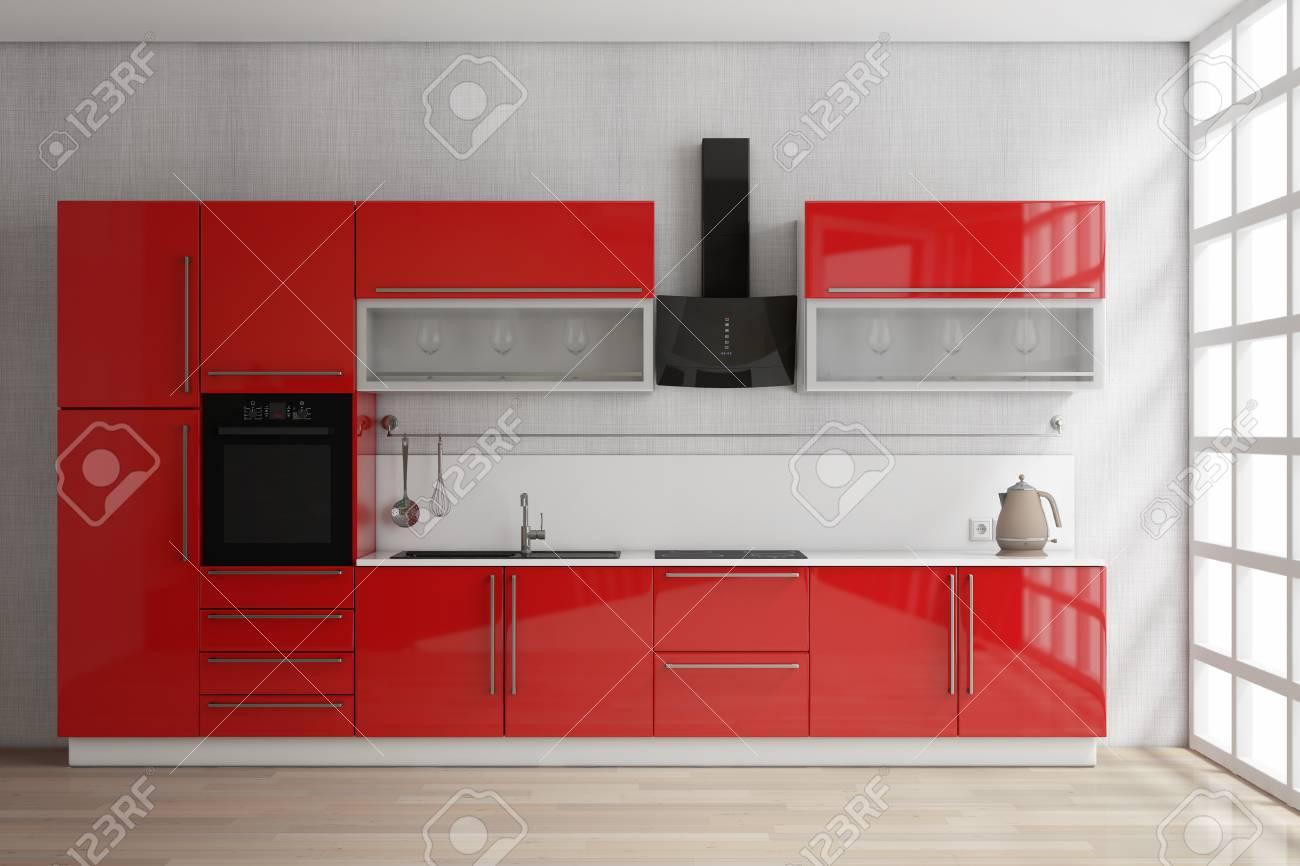 Muebles rojos modernos de la cocina con artículos de cocina cerca del  primer extremo de la ventana. Representación 3D