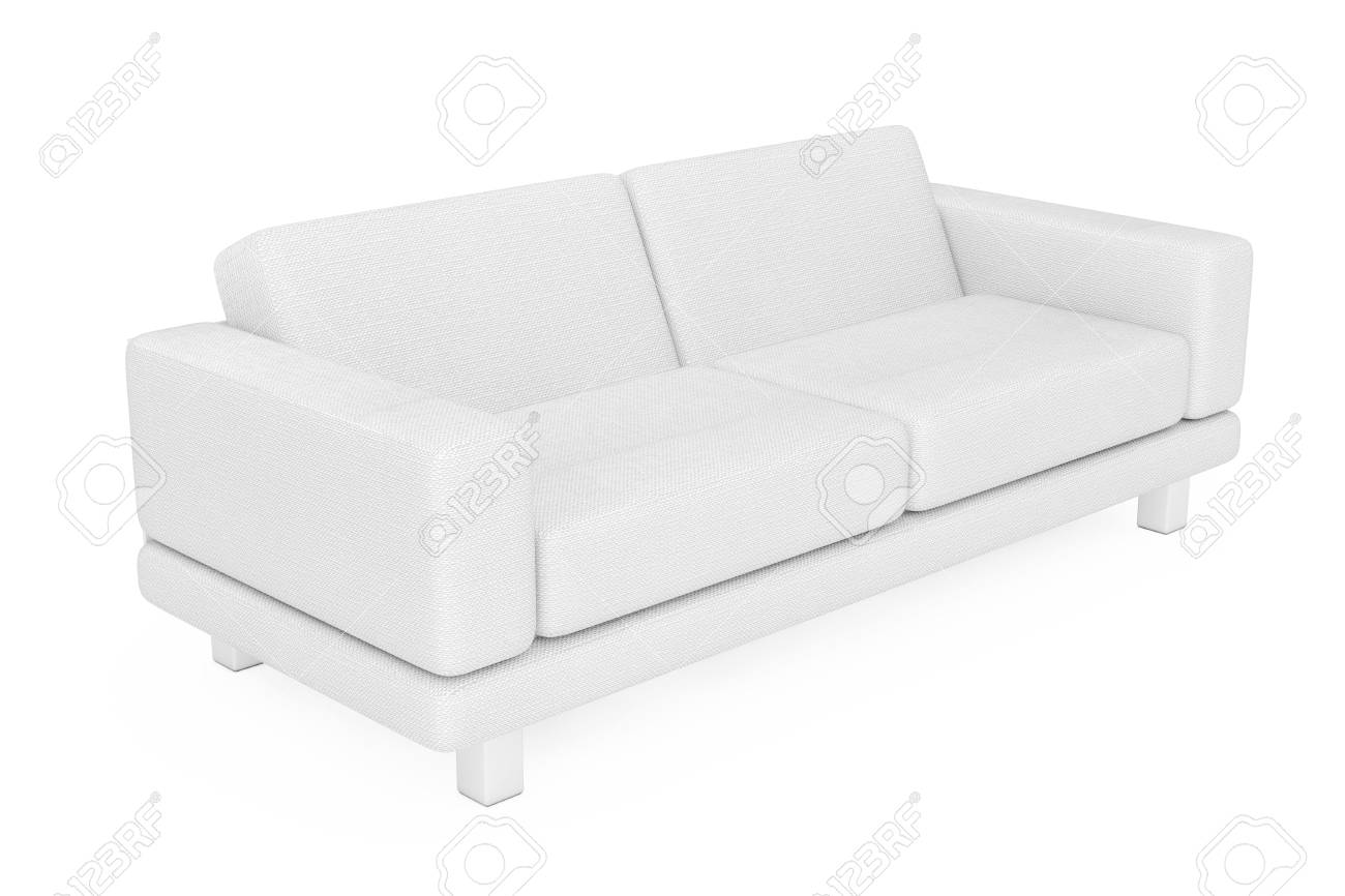 White Simple Modern Sofa Furniture on a white background. 3d..
