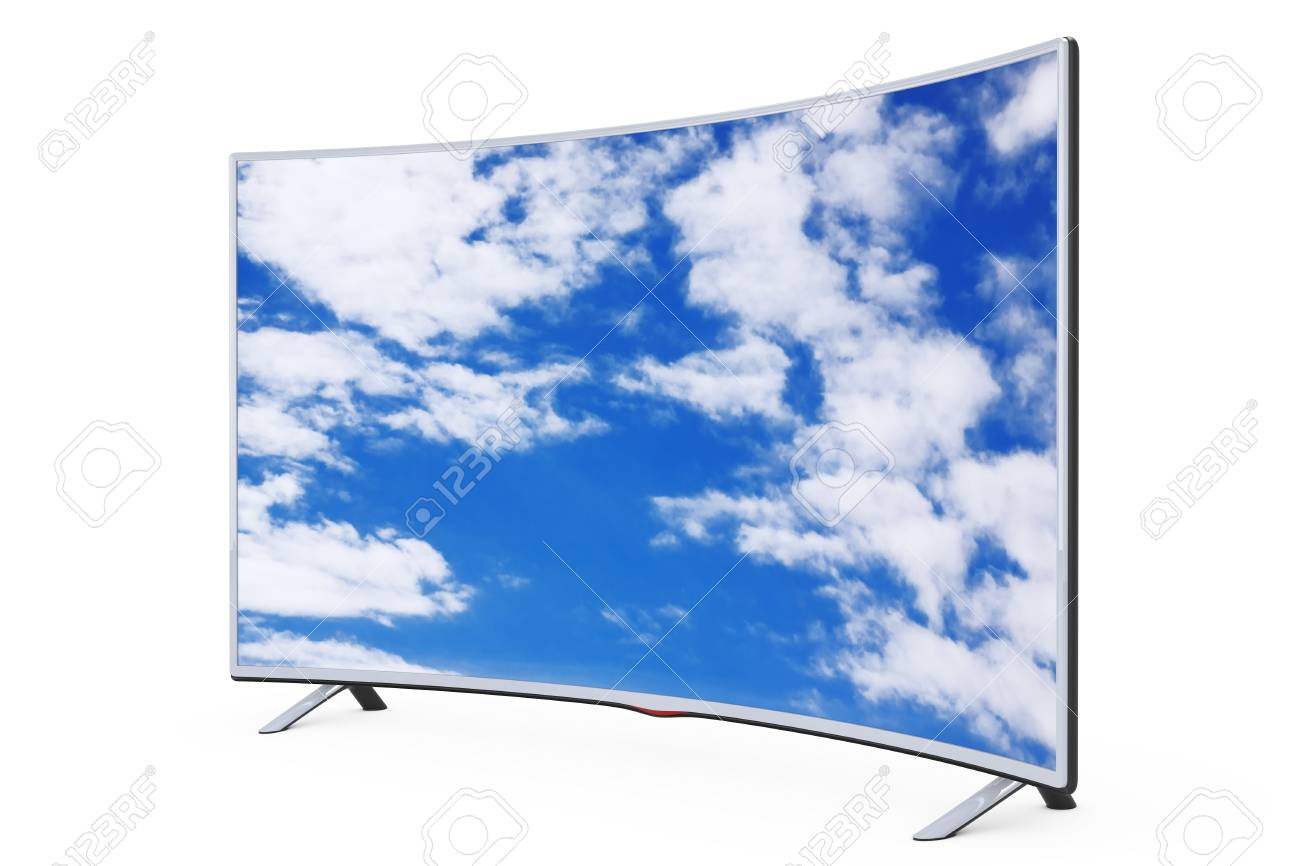 Curved Smart Lcd Plasma Tv Or Monitor With Sky View On A White Stock Photo Picture And Royalty Free Image Image 94476821
