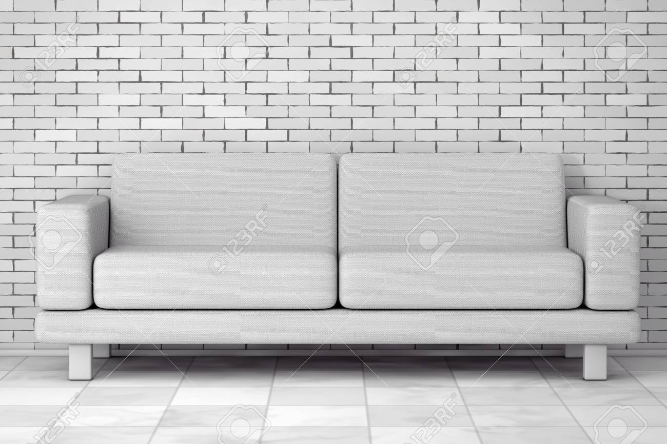 White Simple Modern Sofa Furniture in front of brick wall. 3d..