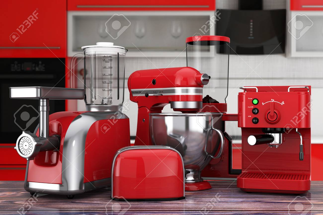 Kitchen Appliances Set Red Blender Toaster Coffee Machine