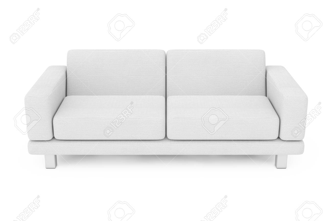 Stock photo white simple modern sofa furniture on a white background 3d rendering