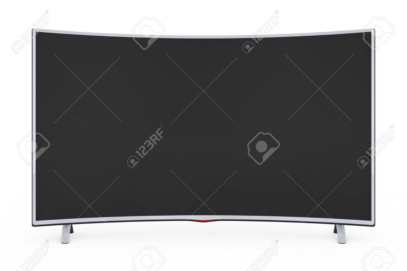 Curved Smart Lcd Plasma Tv Or Monitor On A White Background Stock Photo Picture And Royalty Free Image Image 94477557