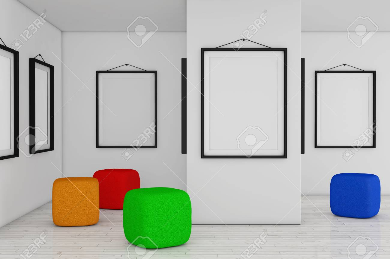 Art Gallery Museum With White Blank Placard Mockup Frames And ...
