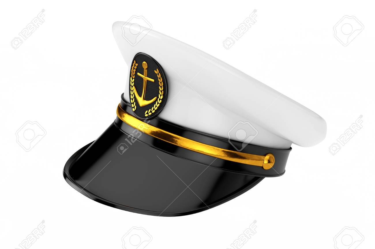 1cef1316f Naval Officer, Admiral, Navy Ship Captain Hat on a white background...