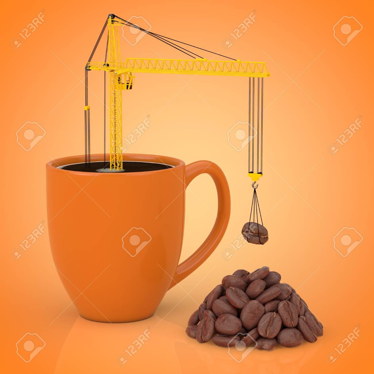 yellow tower crane put coffee beans in coffee mug on a orange