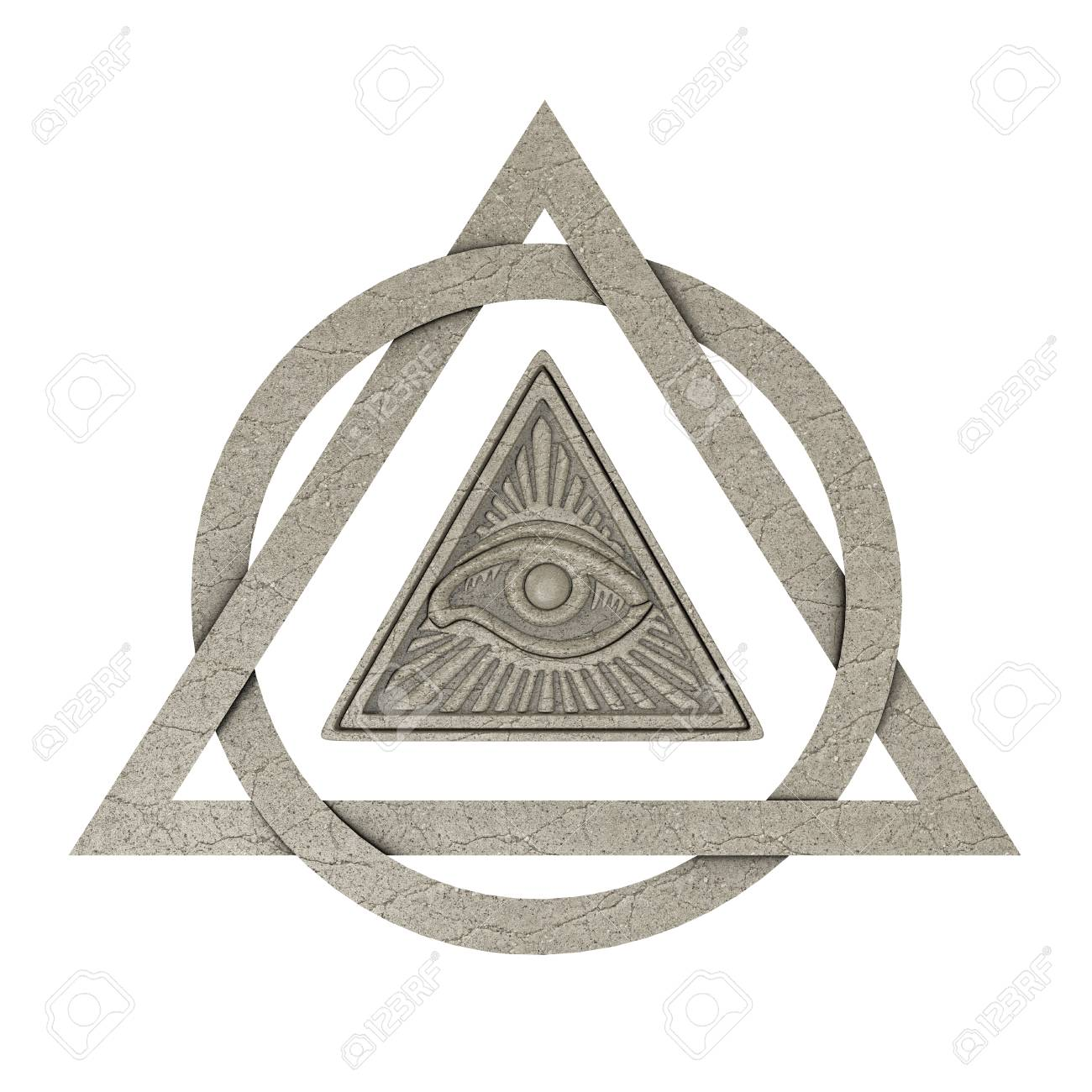 Masonic symbol concept all seeing eye inside pyramid triangle masonic symbol concept all seeing eye inside pyramid triangle as stone on a white background buycottarizona Images
