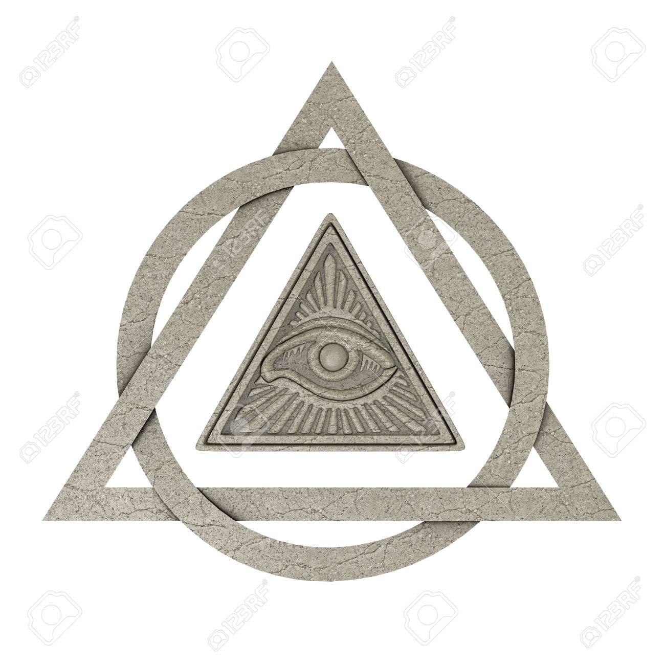 Masonic symbol concept all seeing eye inside pyramid triangle masonic symbol concept all seeing eye inside pyramid triangle as stone on a white background buycottarizona Image collections
