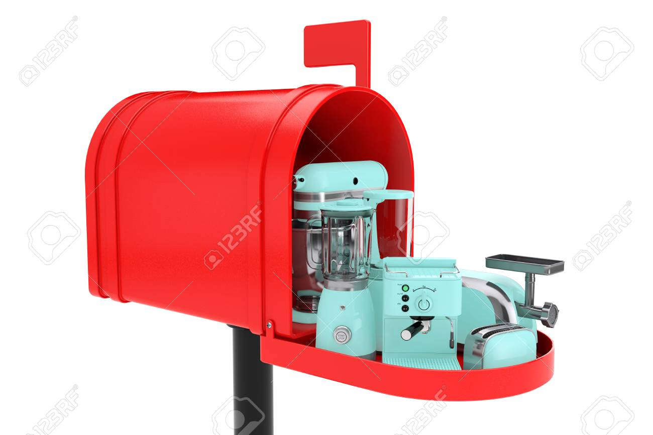 Kitchen Appliances Set In Red Mailbox On A White Background Stock
