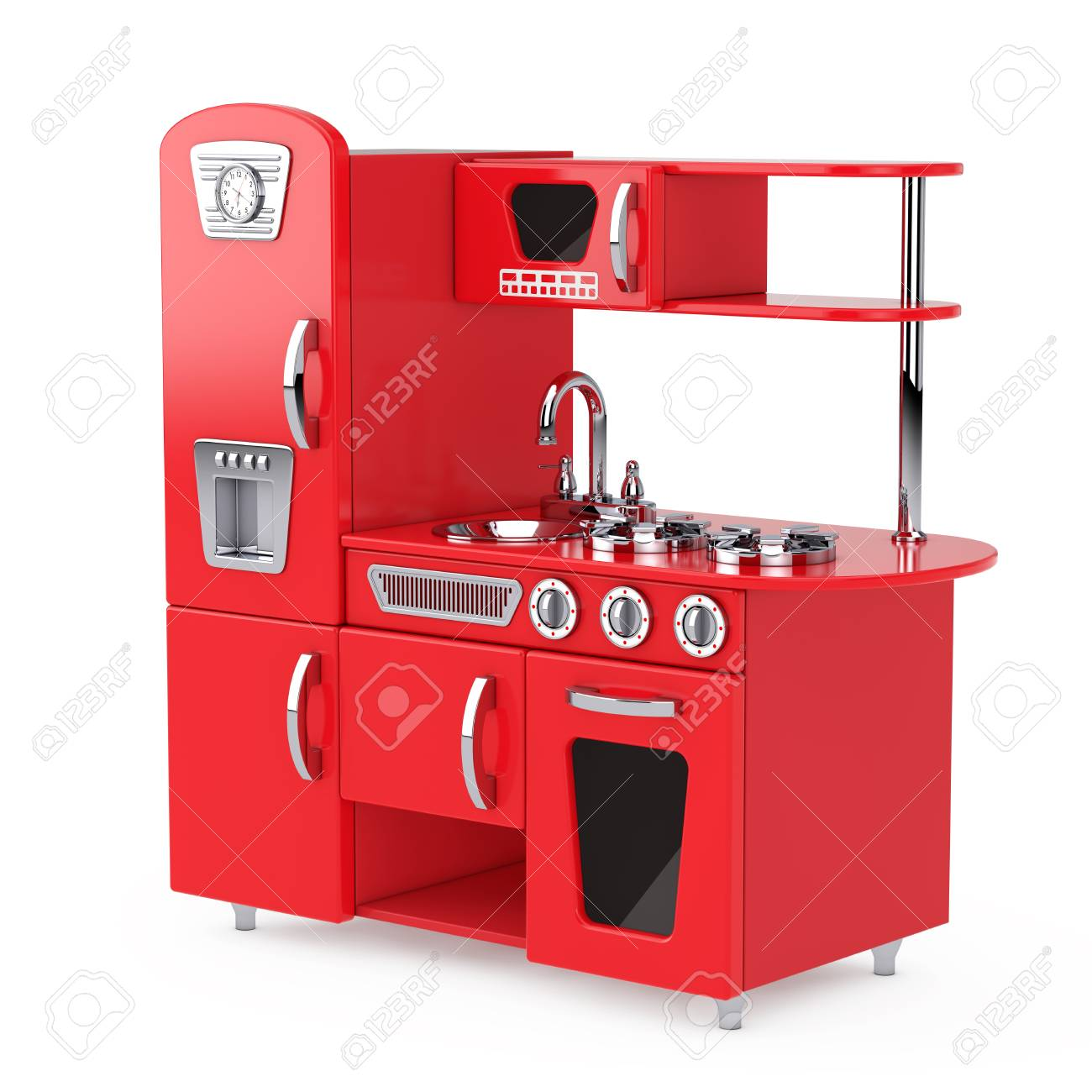Red Vintage Toy Kitchen on a white background. 3d Rendering
