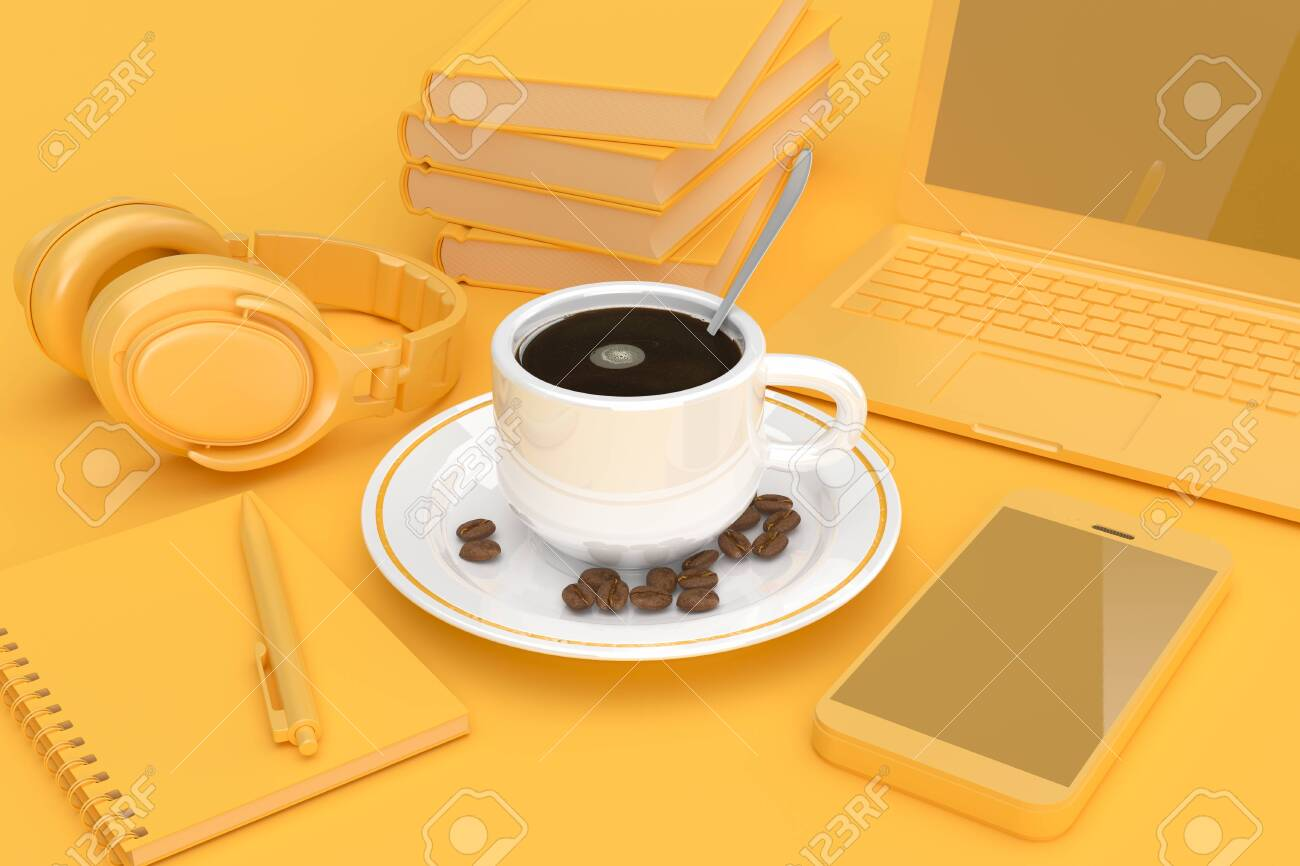 Cofee Cup with Coffee Beans Begirt by Mobile Phone, Books, Laptop, Notepad and Headphones in yellow Key on a yellow background. 3d Rendering - 116798770