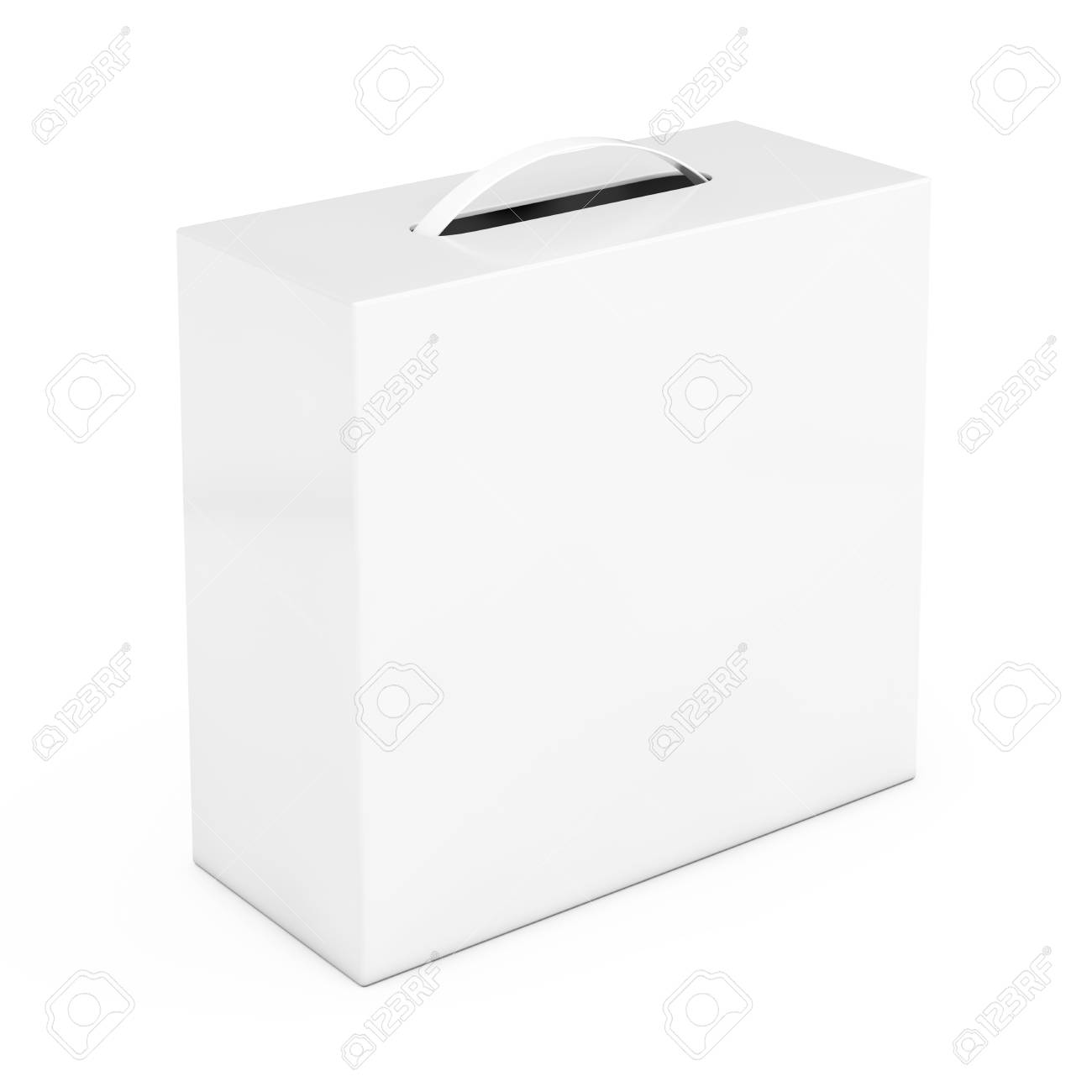 Blank White Cardboard Box Mockup With Plastic Handle On A White