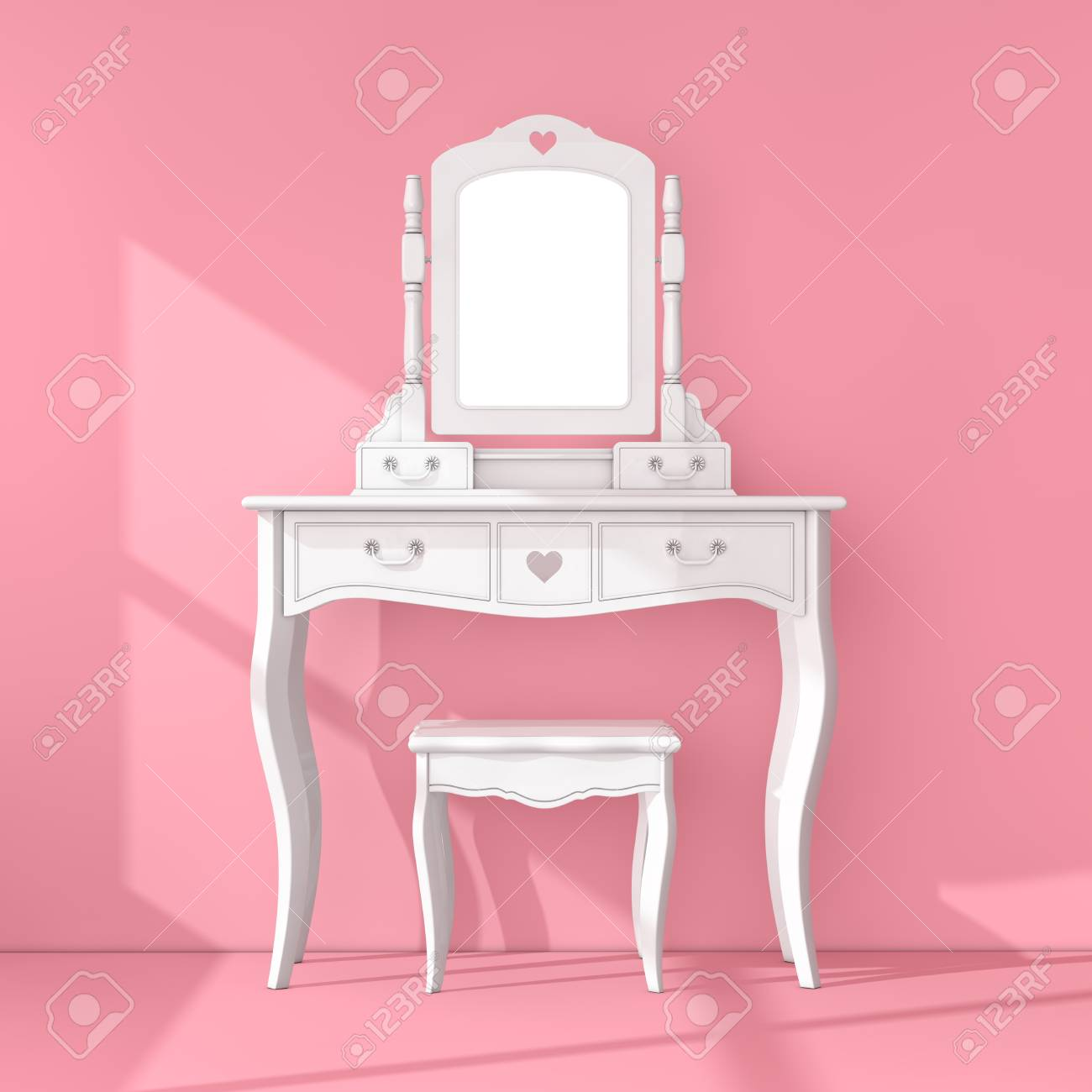 Antique Bedroom Vanity Table with Stool and Mirror in Pink Room..