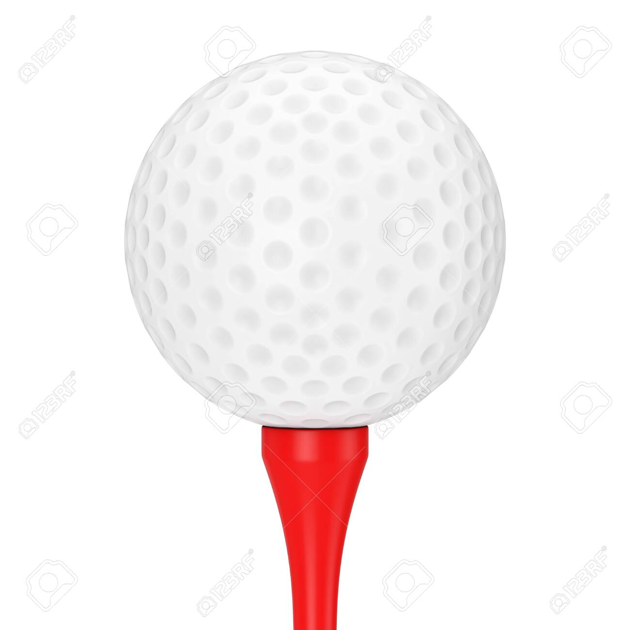 A White Golf Ball on Red Tee on a white background 3d Rendering - 121852042
