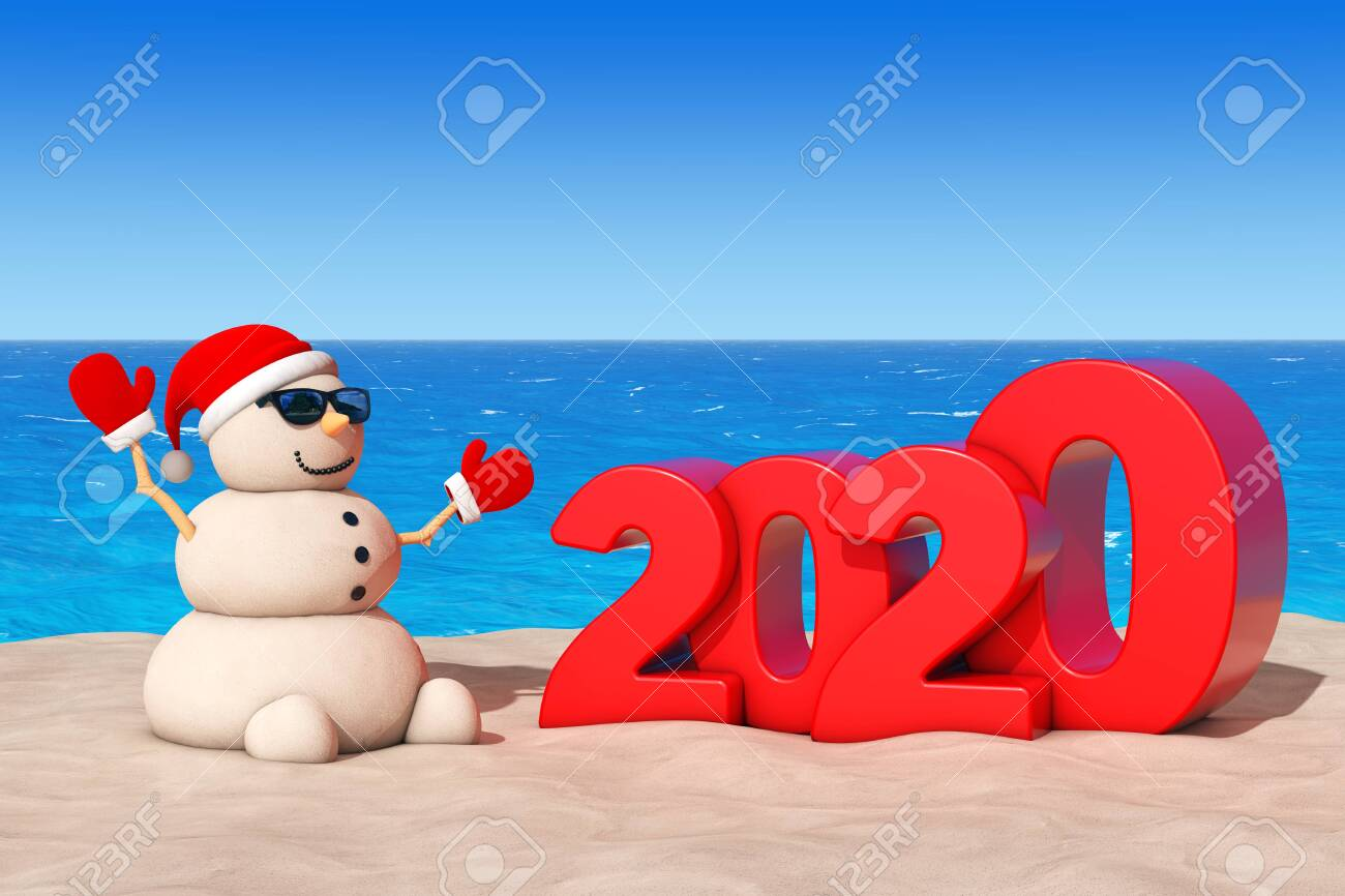 Find Me A Beach For Christmas 2020 Sandy Christmas Snowman At Sunny Beach With 2020 New Year Sign