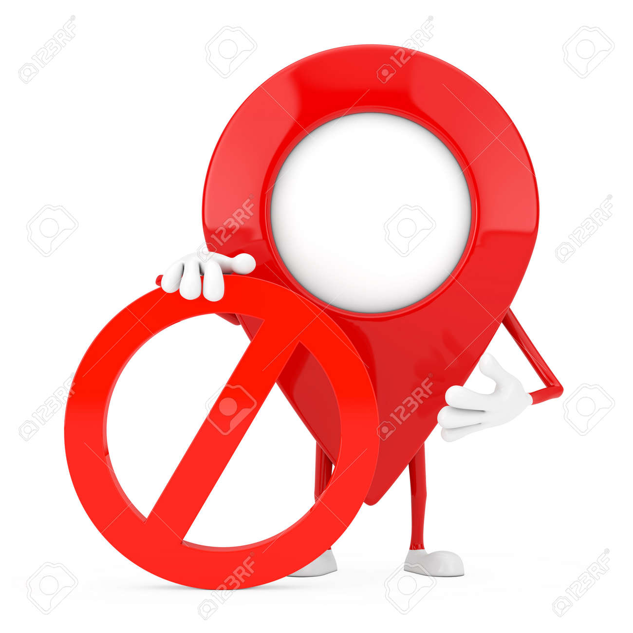Map Pointer Pin Person Character Mascot with Red Prohibition or Forbidden Sign on a white background. 3d Rendering - 168173121