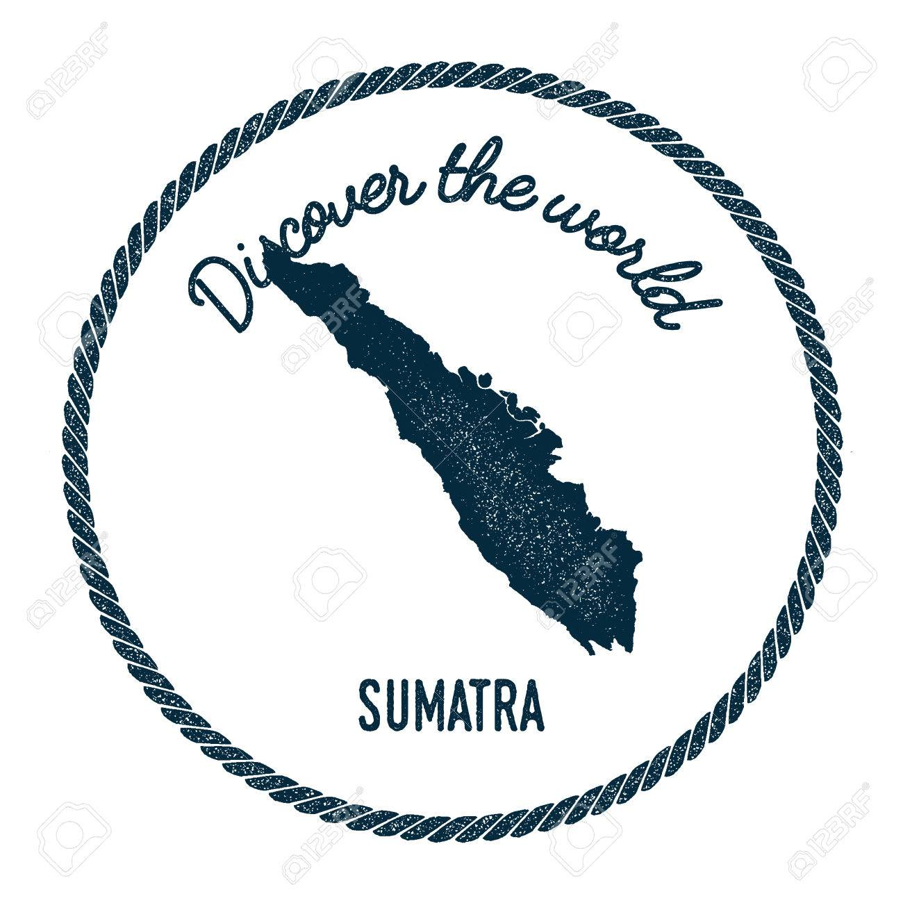 Sumatra map in vintage discover the world insignia hipster style sumatra map in vintage discover the world insignia hipster style nautical postage stamp with gumiabroncs Images