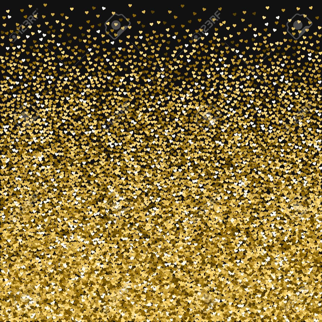 brillo dorado hecho de corazones gradiente inferior sobre fondo