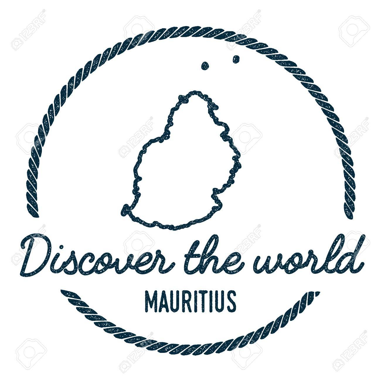 Mauritius Map Outline. Vintage Discover the World Rubber Stamp..