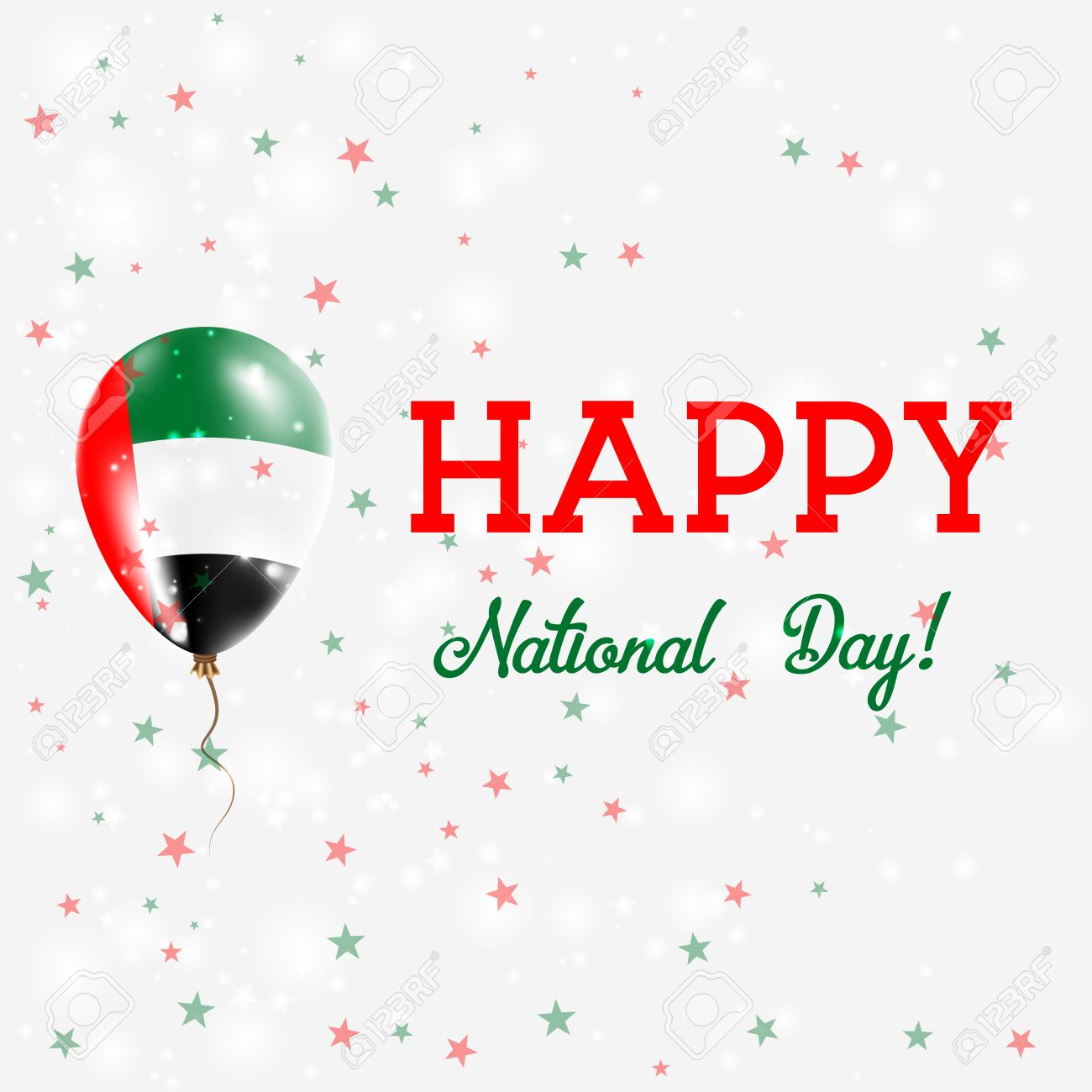 Uae National Day Patriotic Poster Flying Rubber Balloon In Colors