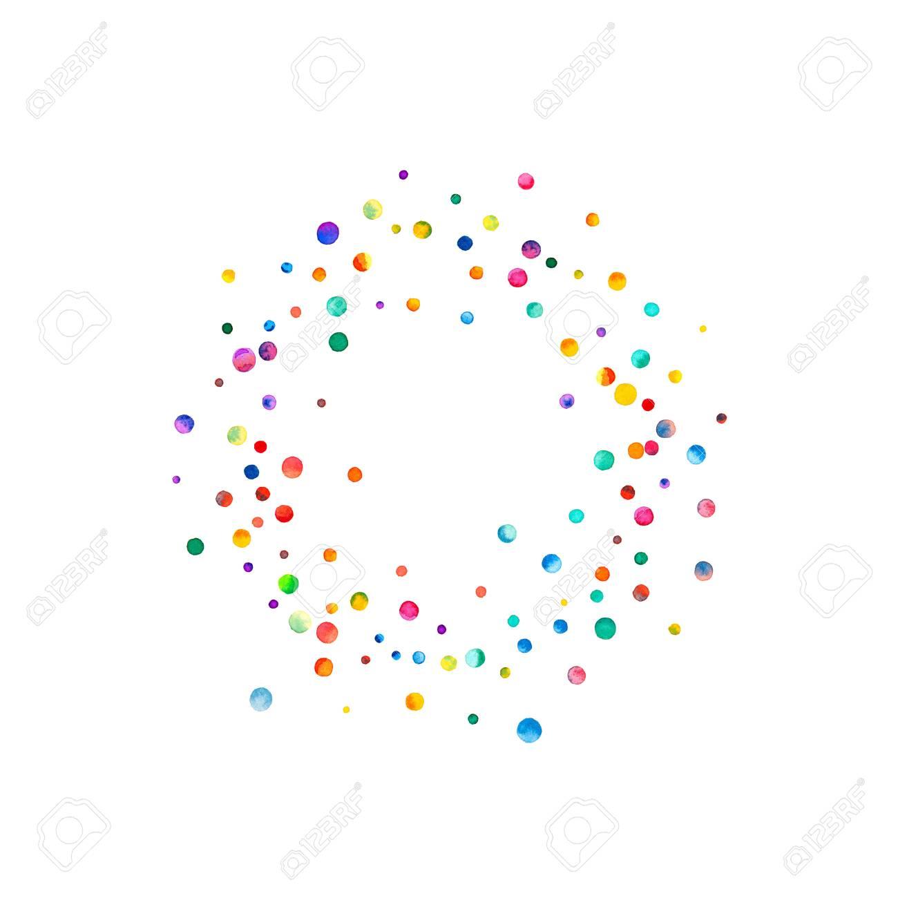 Dichter Aquarell Konfetti Auf Weißem Hintergrund. Regenbogen ...