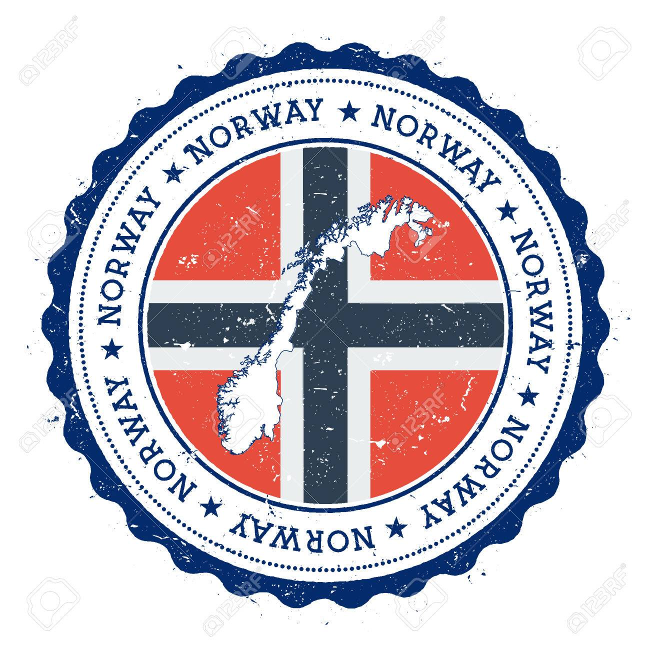 Norway Map And Flag In Vintage Rubber Stamp Of State Colours Grungy Travel With
