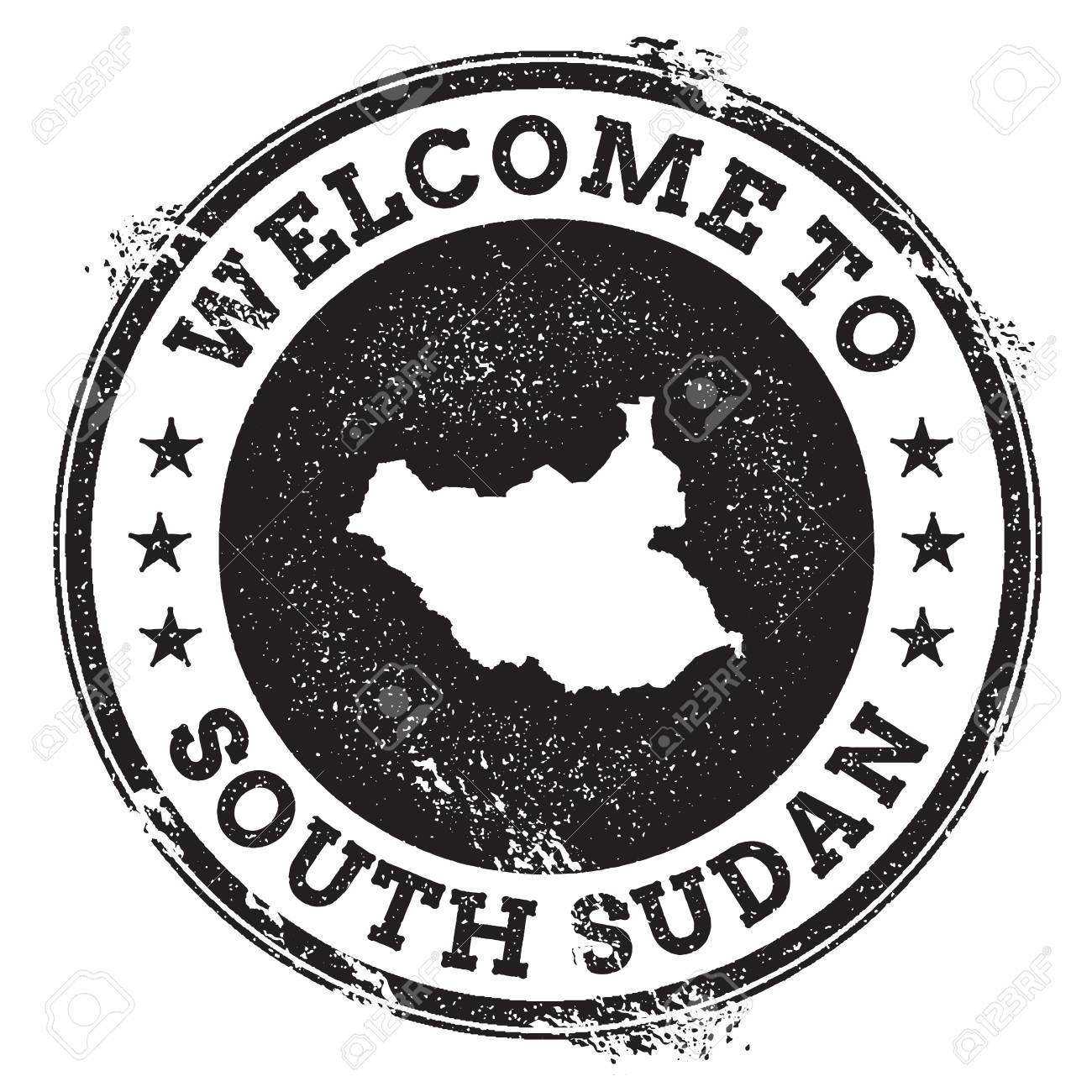 Vintage passport welcome stamp with South Sudan map  Grunge rubber