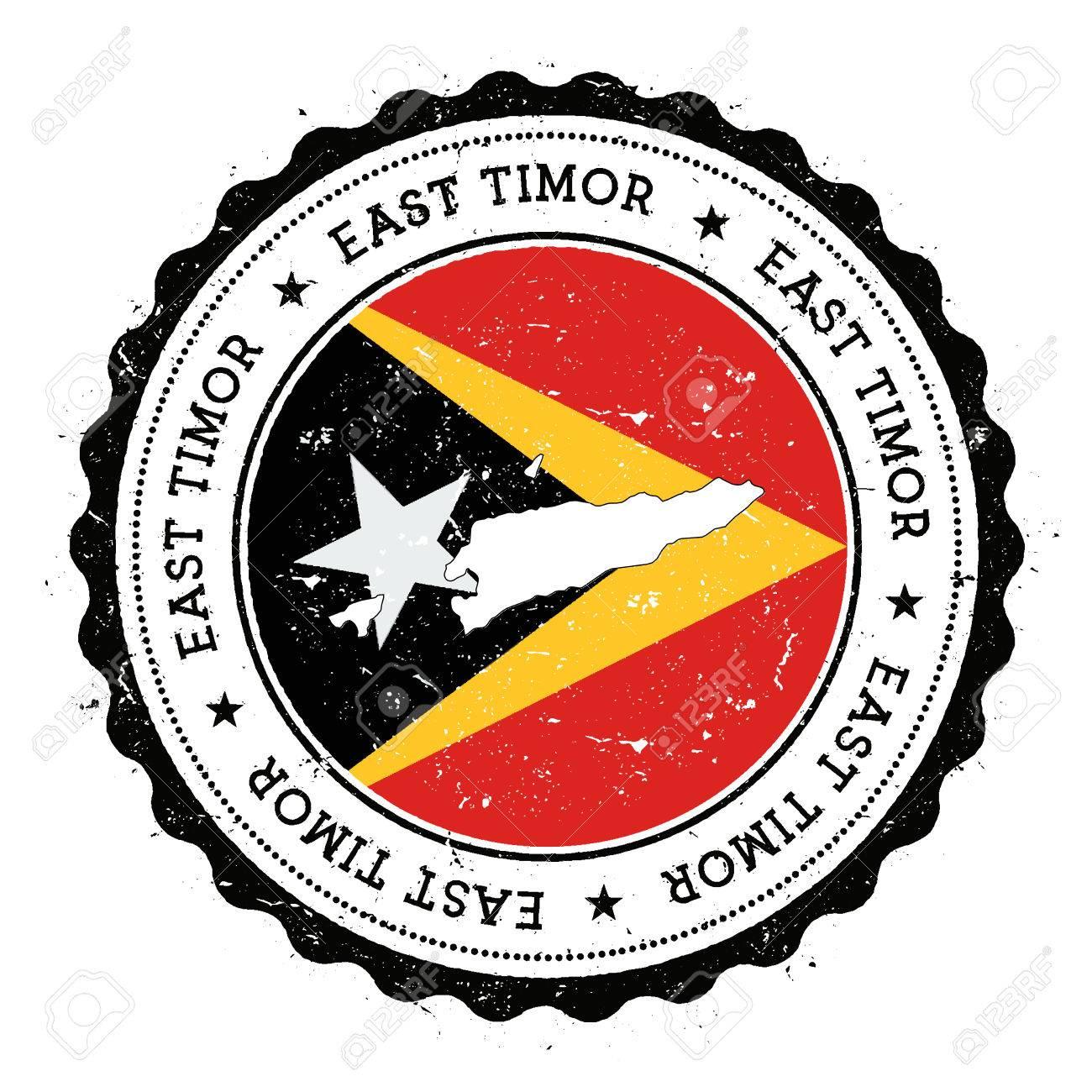 TimorLeste Map And Flag In Vintage Rubber Stamp Of State Colours - East timor seetimor leste map vector