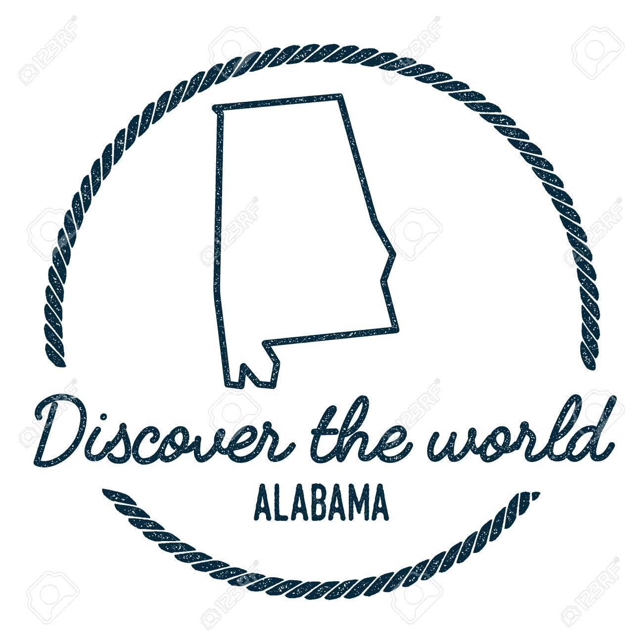 Alabama Map Outline Vintage Discover The World Rubber Stamp