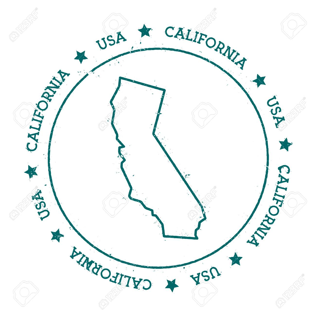 U S State Map Vector.California Vector Map Retro Vintage Insignia With Us State Map