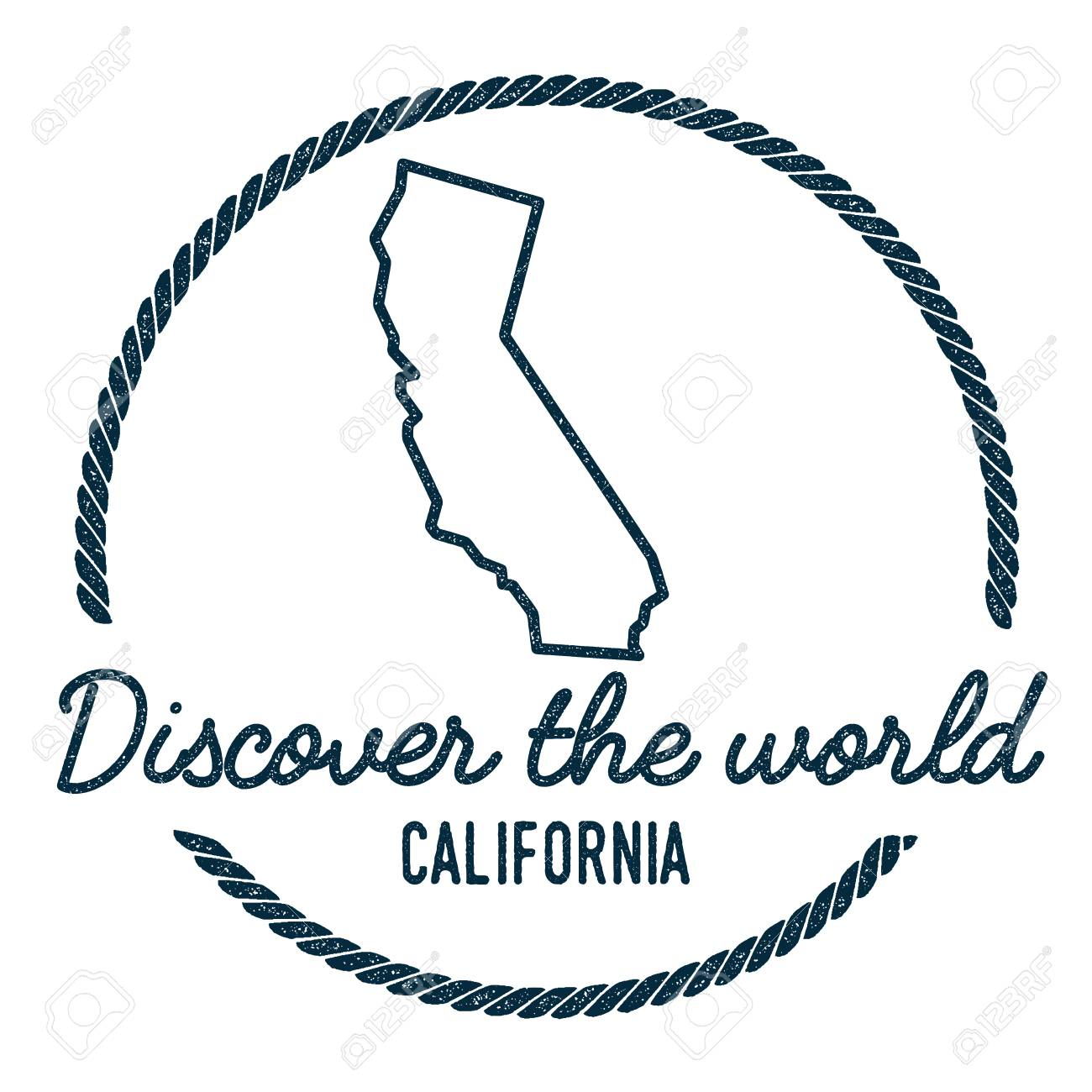 California Map Outline Vintage Discover The World Rubber Stamp