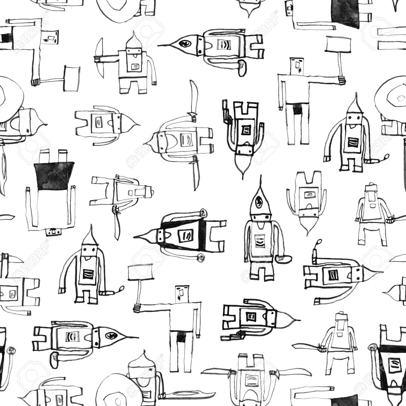 Patrón Sin Fisuras De Héroe Impresionante Dibujo Infantil Con Pluma