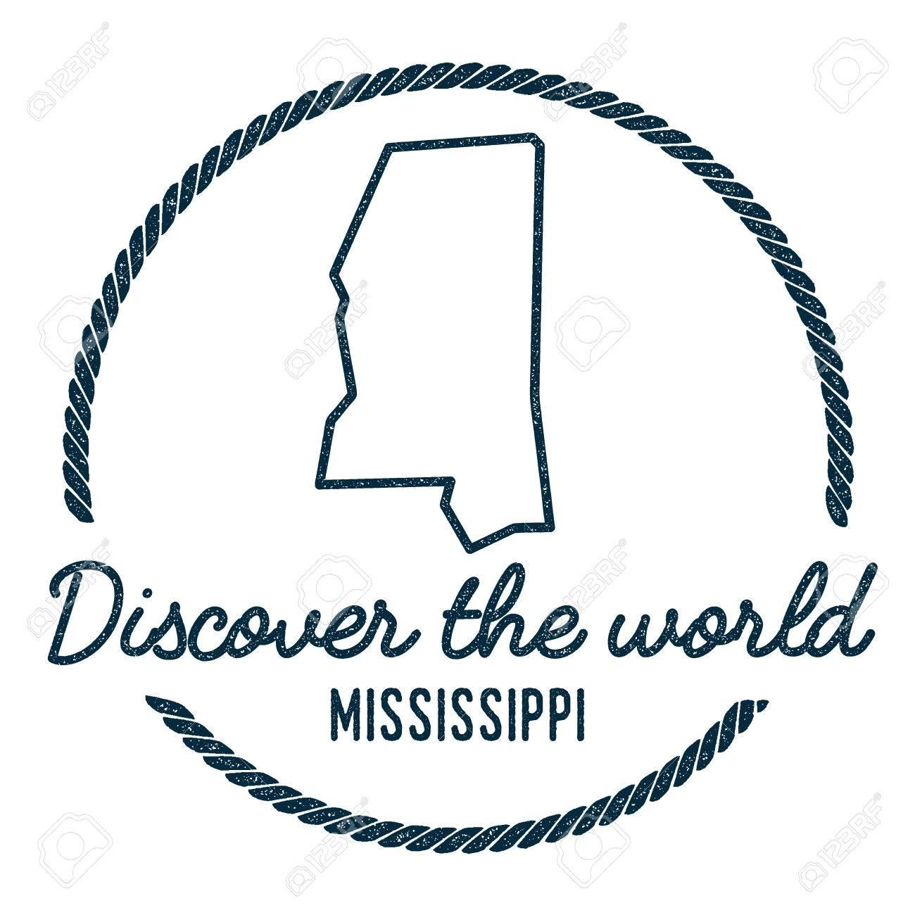 Mississippi State Map Outline.Mississippi Map Outline Vintage Discover The World Rubber Stamp