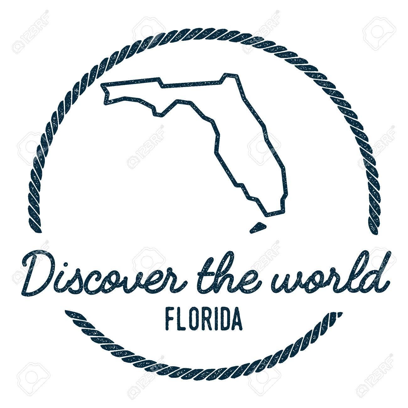 Florida Map Outline.Florida Map Outline Vintage Discover The World Rubber Stamp