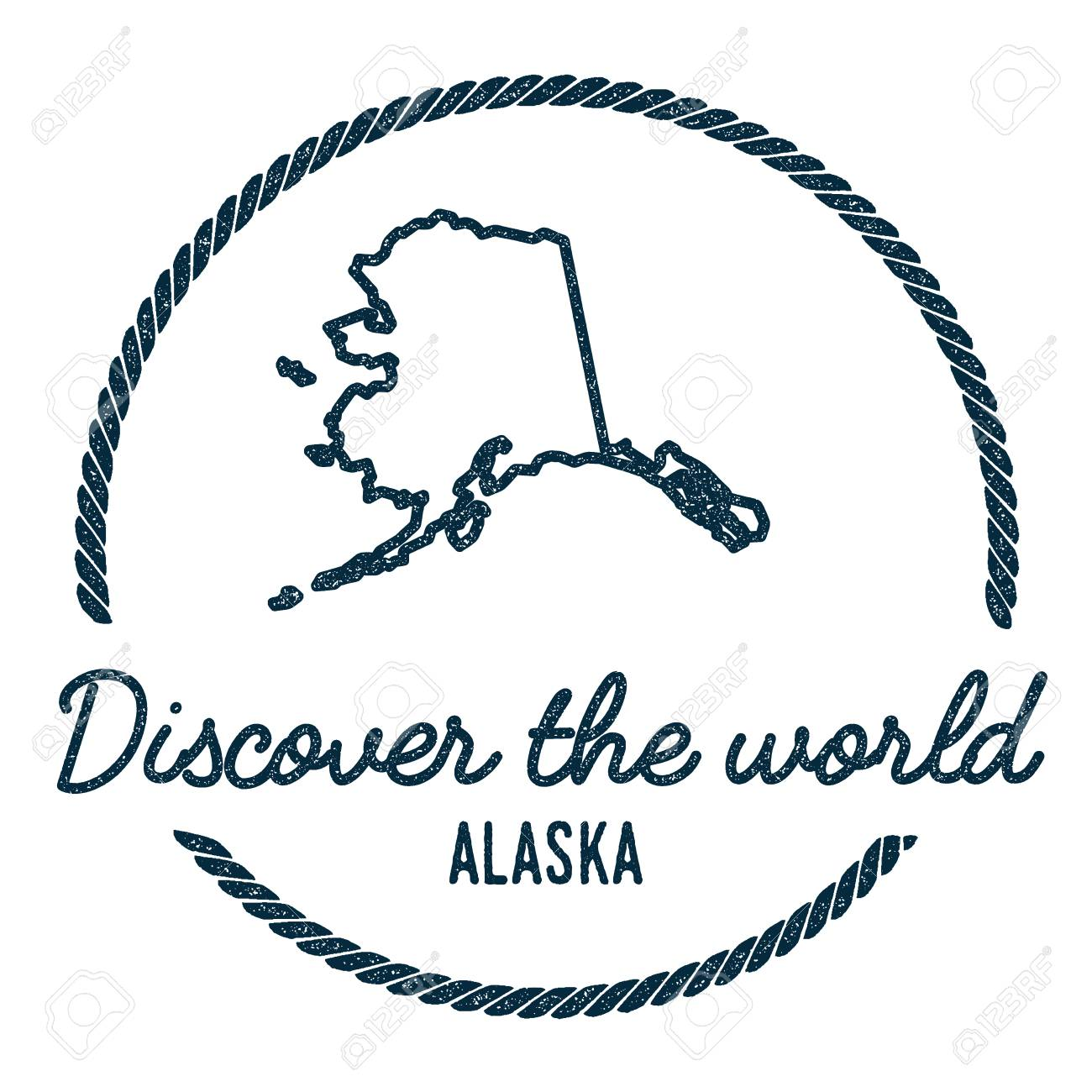 Alaska Map Outline Vintage Discover The World Rubber Stamp With