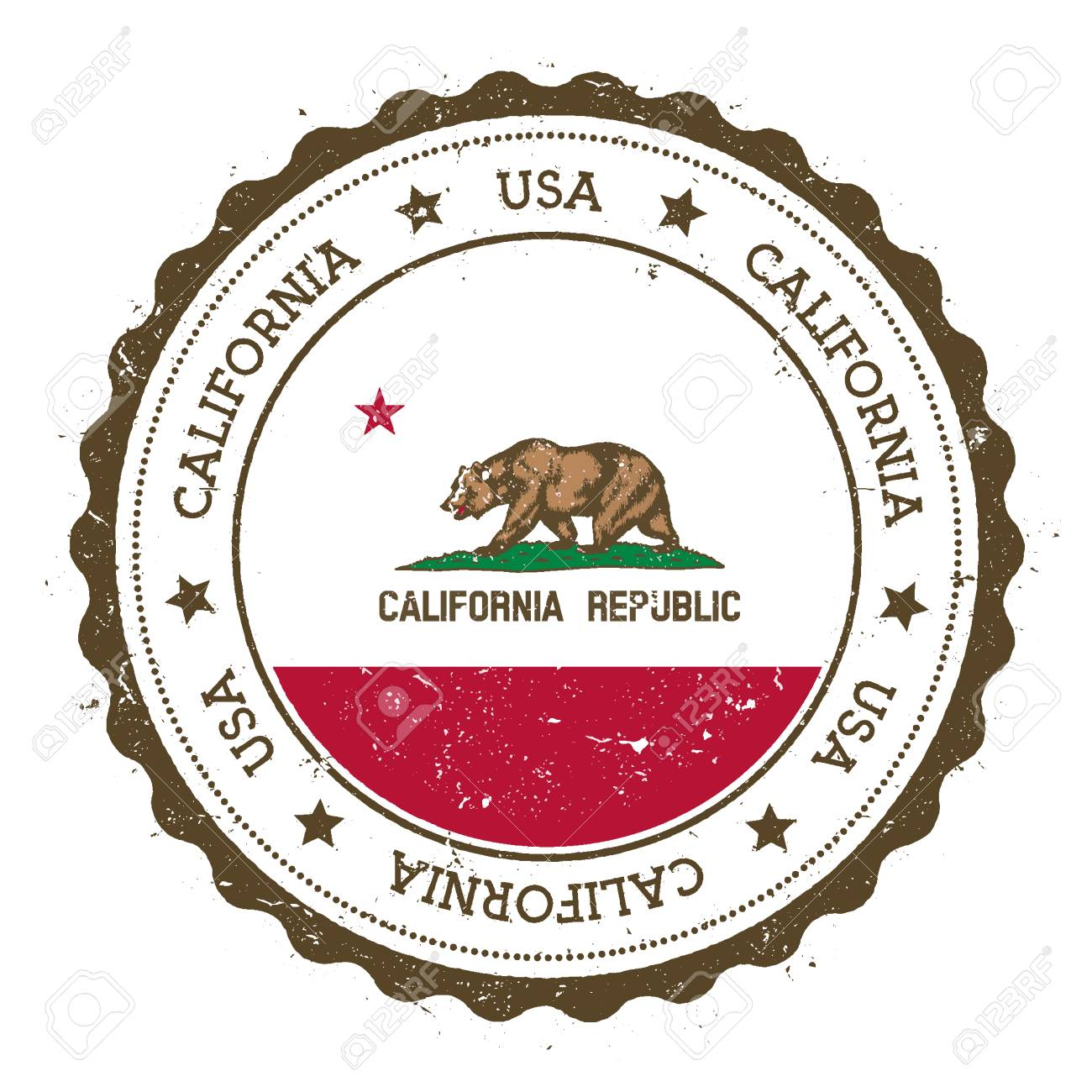California Flag Badge Grunge Rubber Stamp With Vintage Travel Circular