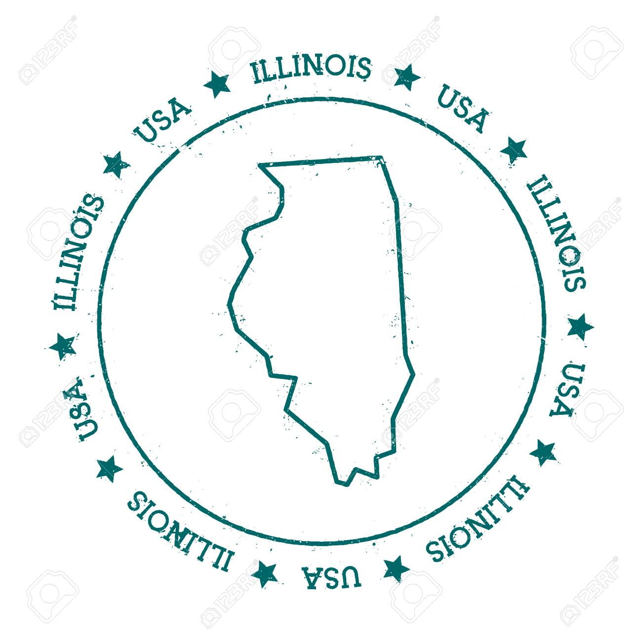 U S State Map Vector.Illinois Vector Map Retro Vintage Insignia With Us State Map