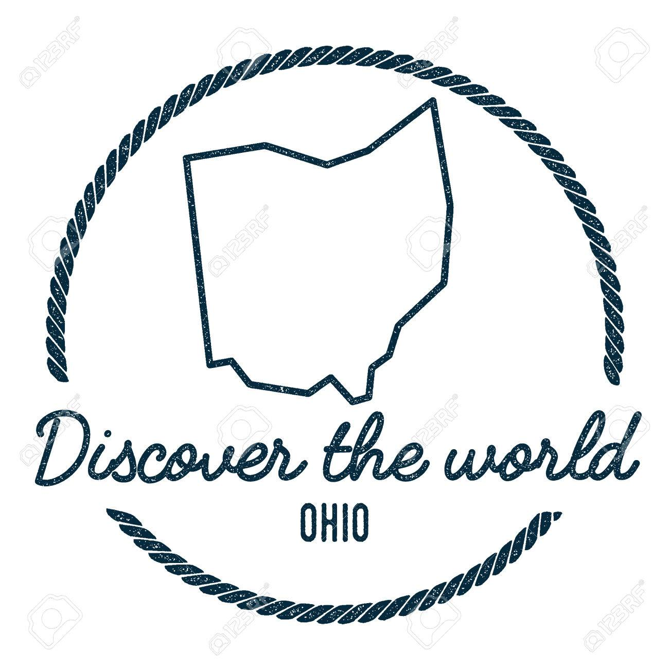 Ohio Map Outline Vintage Discover The World Rubber Stamp With