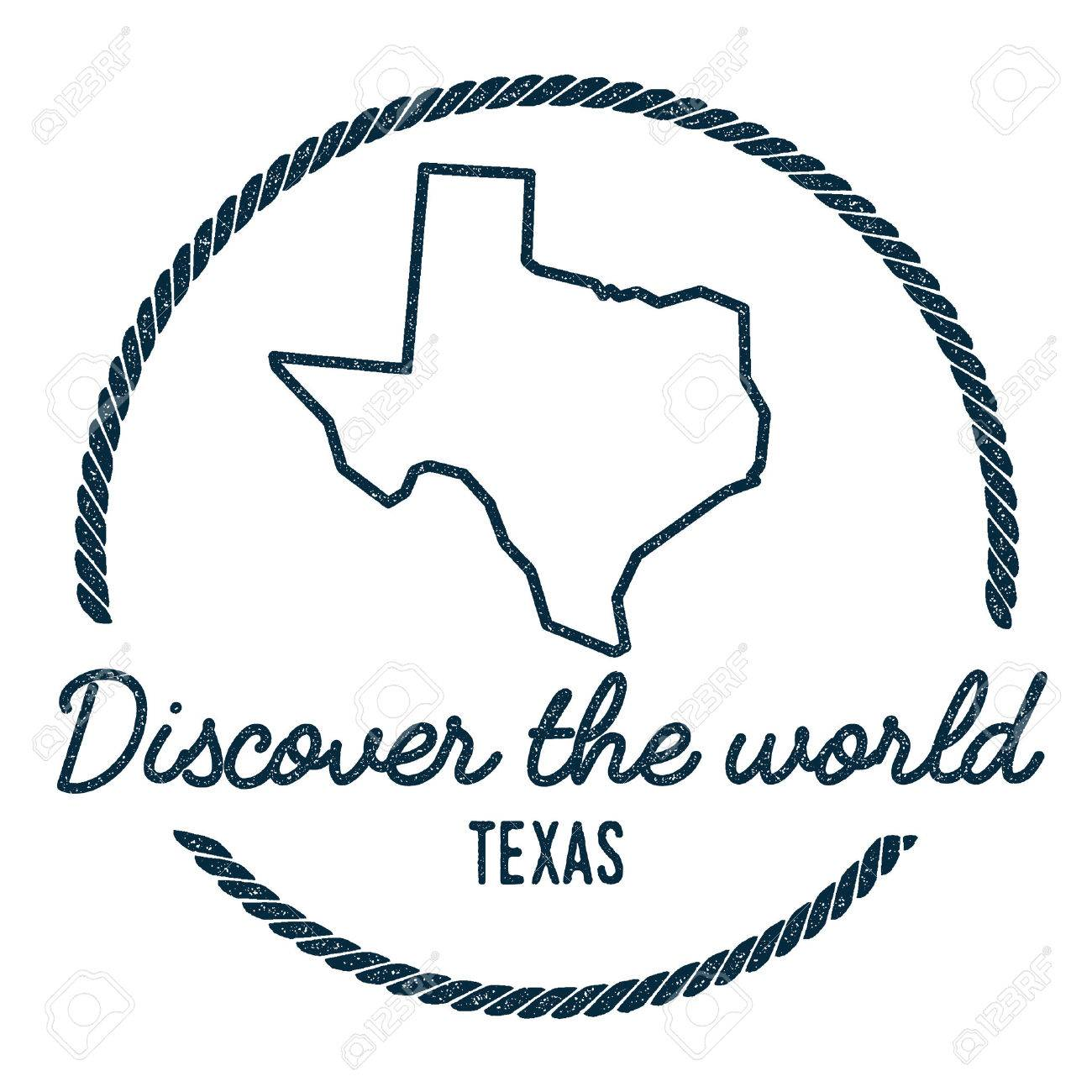 Outline Of Texas Map.Texas Map Outline Vintage Discover The World Rubber Stamp With