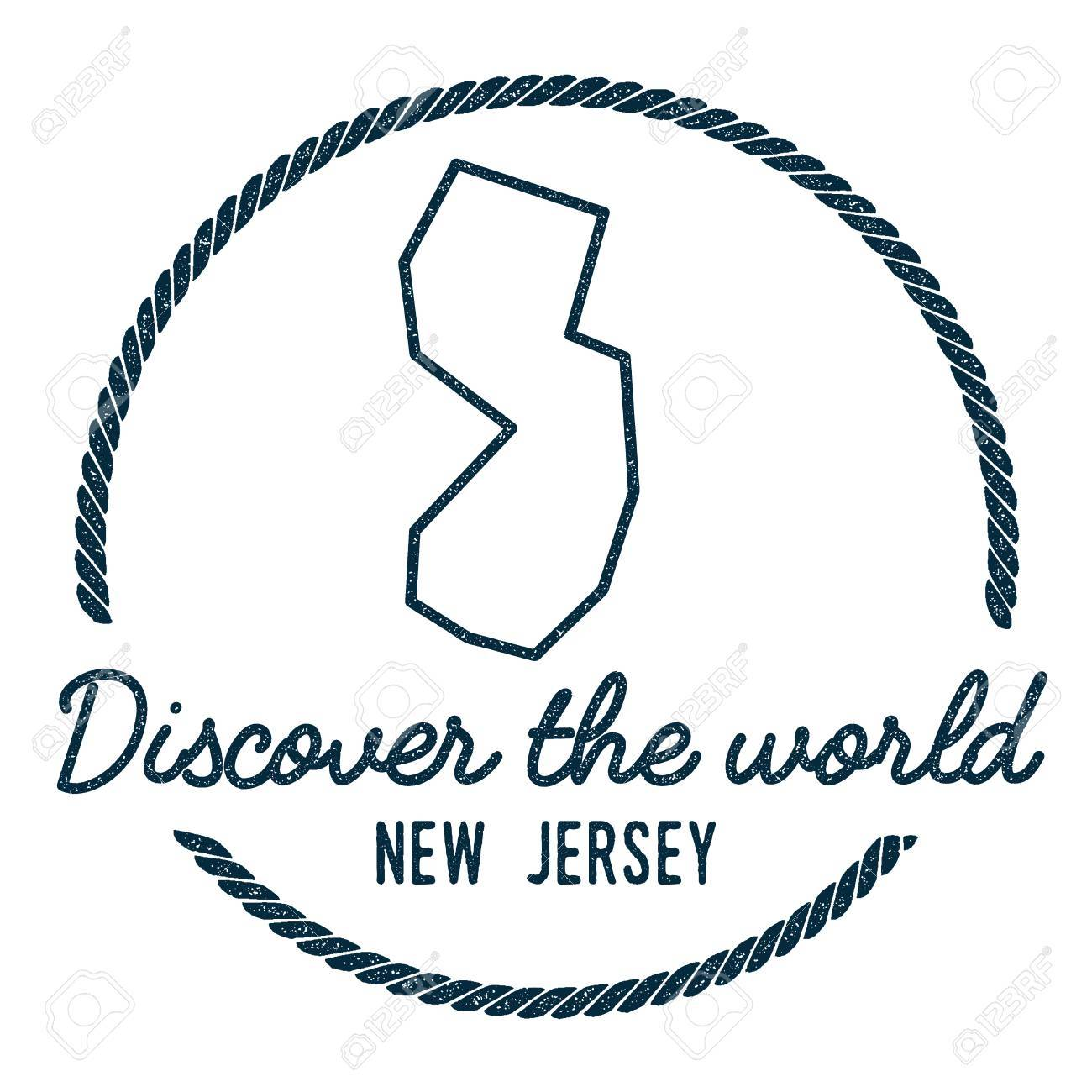 New Jersey Map Outline  Vintage Discover the World Rubber Stamp
